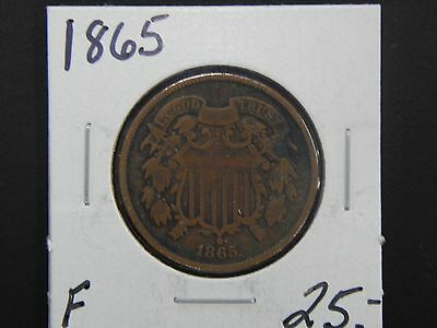 1865 Fine Two Cent Piece Circulated - Discolored