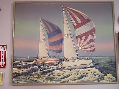 Large Painting Sailboats by Collins Jongert Red Arrow H2020 Must See
