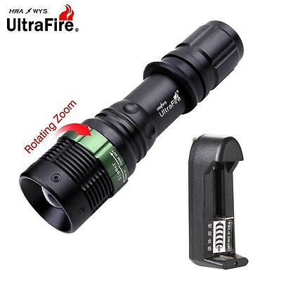 Ultrafire 6000 LM Zoom CREE XM-L T6 LED Torch +3.7V Travel Battery Charger US FT