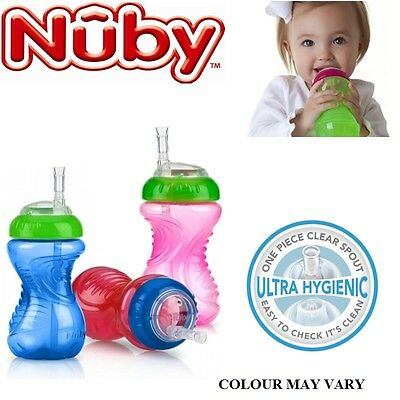 Nuby Baby Flexi Slicone Straw Toddler Non Spill Leak Proof 300ml Beaker Cup 12m+