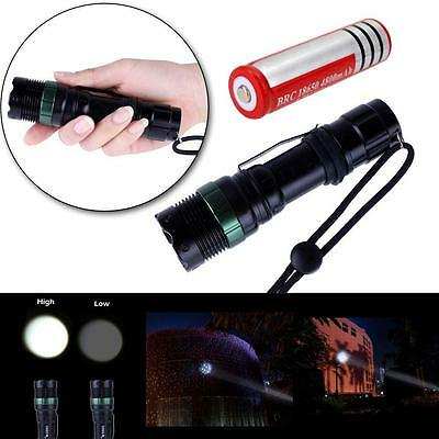 6000LM CREE Q5 LED Flashlight Zoomable Torch Lamp + 18650 Battery FT