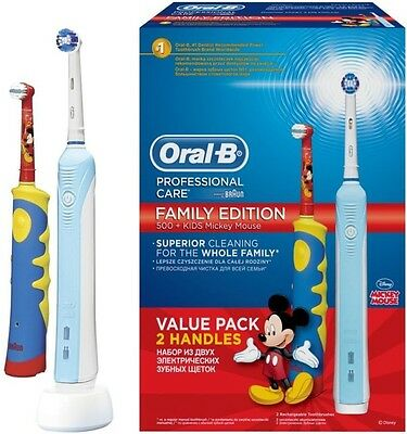 New pack Oral-B 500 Adult & Kids Family Edition Bundle Mickey Mouse Value 2 pack