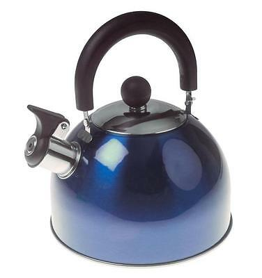 Kampa Brew Whistling Kettle Blue 2 Litre Stainless Steel, Ideal For Camping