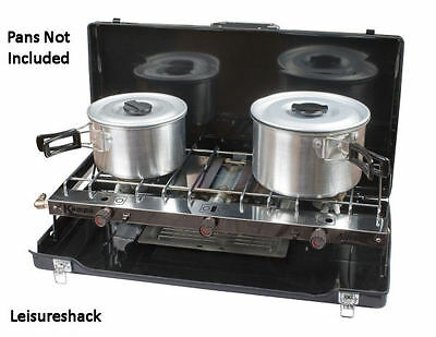 Kampa Alfresco Double Gas Hob & Grill Camping Stove Portable Cooker With Grill
