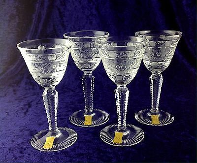 Meissen Hand Cut Crystal ~ Set of 4 Sherry Glasses