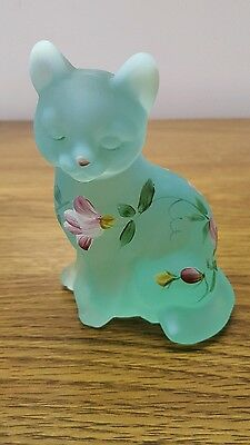 Fenton Art Glass Cat Hand Painted And Signed By Artist