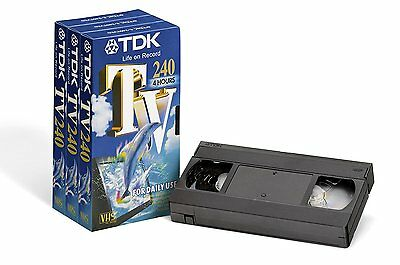 TDK E-240 VHS Blank TV 240 Video Tapes 3 PACK New & Sealed 4 HOUR SP Recording