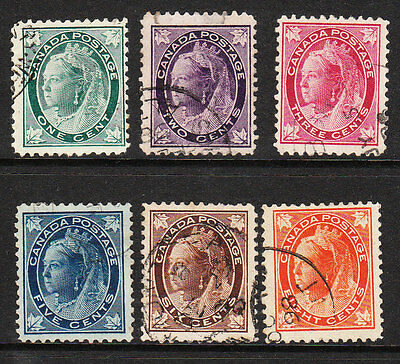 CANADA. 1897-98. QV MAPLE LEAF DEFINITIVES 1c to 8c COMPLETE. VFU. Sg. 143-148
