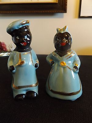 Vintage Black Americana Salt & Pepper Shakers Black Mammy & Chef S & P Shakers