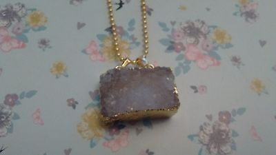 Chunky Wrapped Titanium Crystal Drusy Pendant Necklace.