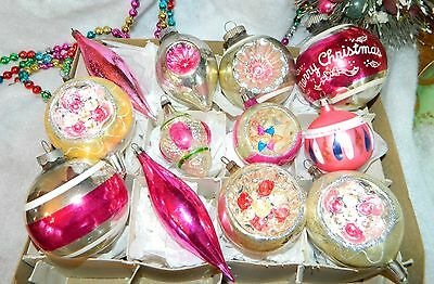 Vintage Glass Christmas Ornaments  PINK Poland Germany Indents Shiny Brite Etc
