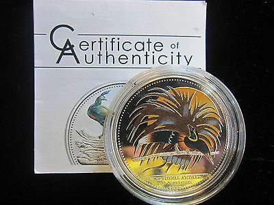 """Beautiful Palau Coin Bird of Paradise """"SILVER PROOF"""" w/COA Low Mintage of 2,500"""