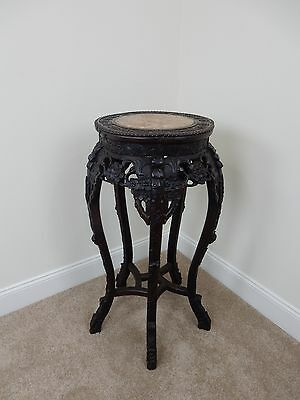 """Antique Chinese Intricately Carved Rosewood Marble top Stand. 32.5 """""""