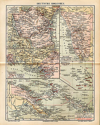 1892 GERMAN COLONIES AFRICA PACIFIC Antique Mapd DATED