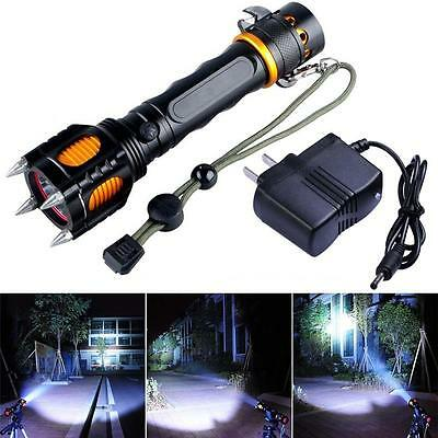 8000Lm CREE XM-L T6 LED Flashlight Cutting Rope Audible Alarm Torch + Charger