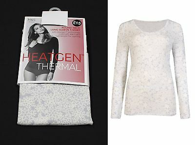 M&S Ladies Heatgen Thermal Long Sleeve Sparkle T-Shirt Top Soft Warm Layering