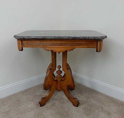 Antique Eastlake Victorian Marble Top Parlor Side Table c.1880