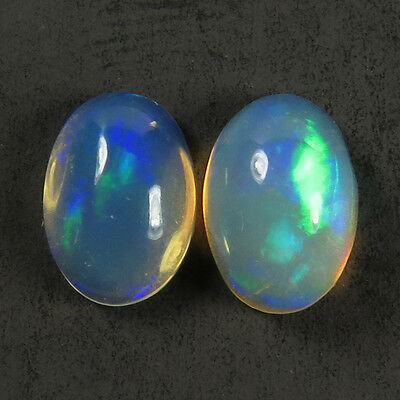 Elegant 1.10 Cts Natural Fire ETHIOPIAN OPAL Gemstone 1 Pair Oval Cabochon 7x5mm