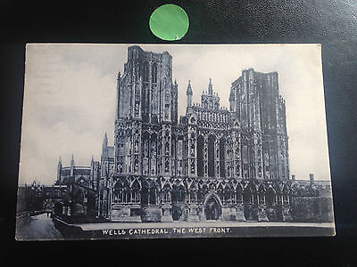 wells cathedral the west front VINTAGE POSTCARD 1905