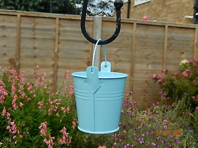 Bird Feeder - Blue  metal bucket - supplied with seed and a fat ball - new