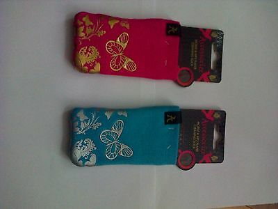 ACCESSORIZE  SET OF 2 BUTTERFLY UNIVERSAL cleaning  SOCK  POUCH FOR SMARTPHONE