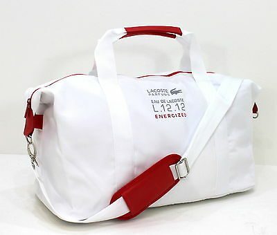 New Lacoste White/red Sport Duffle Bag/ Gym/ Weekend Travel Bag