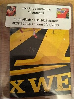 Justin Allgaier 2013 Loudon NASCAR Authentic Race Used Sheet Metal