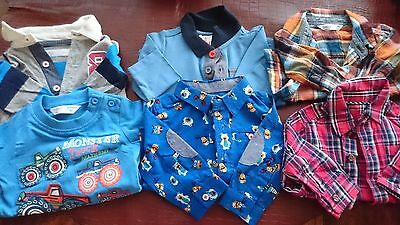 Baby Boy's shirt bundle 0-3 months M&Co NWOT & used
