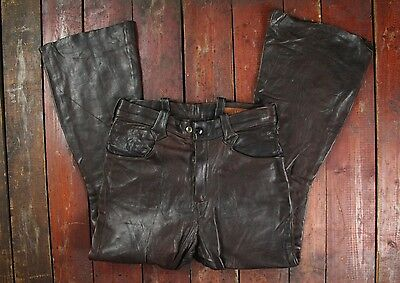 VTG 1970s EAST WEST MUSICAL INSTRUMENTS FLARED LEATHER PANTS JEANS HIPPY W28 L27
