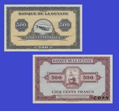 French Guiana 500 Francs 1942 UNC - Reproduction