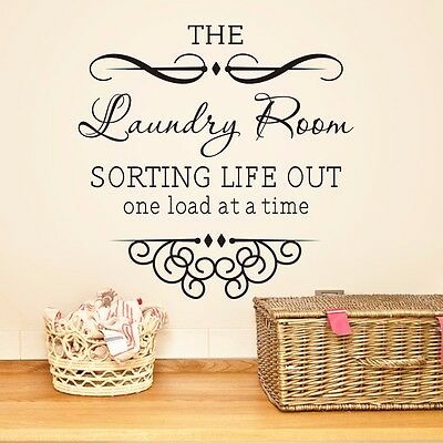 DIY Laundry Room Wall Quote Decal Sticker Vinyl Mural Home Bath Room Decor HP