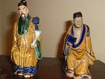 """Vintage Pair of Chinese Mudmen Approx Engraved """"China"""" -Very Nice"""