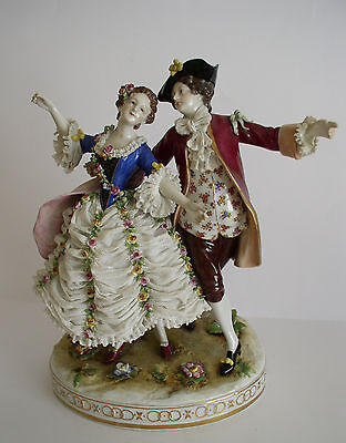 MAGNIFICENT LARGE RUDOLSTADT VOLKSTEDT  LACE FIGURE OF LOVERS c 1915