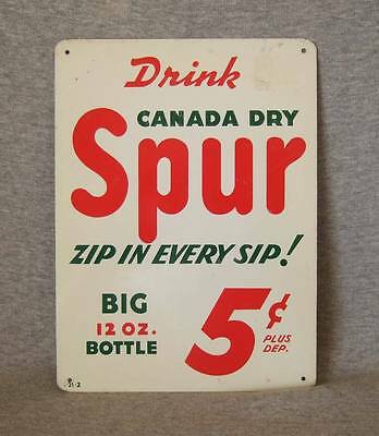 Vintage (1950s) Canada Dry Spur metal bottle rack sign~exc.cond.