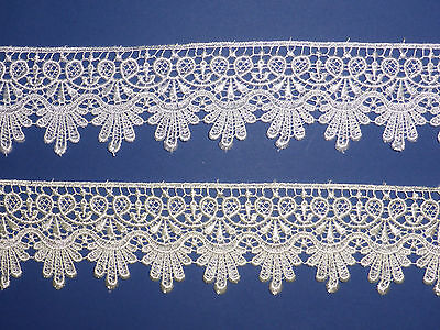 """EXCLUSIVE BEAUTIFUL VENISE GUIPURE LACE TRIM  2.25""""/5.5cm WHITE or IVORY"""