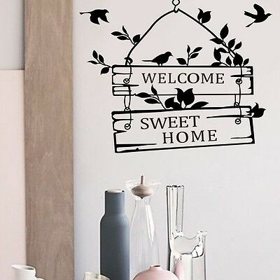 Birds Welcome Sweet Home Wall Quote Decal Sticker Vinyl Mural Room Decor Art HP
