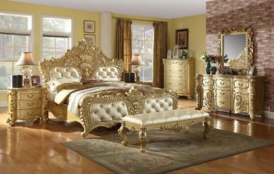 Meridian Zelda Queen Size Bedroom Set 7pcs in Rich Gold Traditional Style