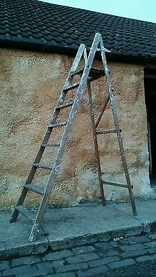Retro Vintage Wooden Step Ladders - Industrial Chic Shelves - Display Project