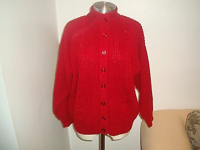 Gorgeous Red Knitted  Lagenlook Cardigan -Uk Size 14/16/18