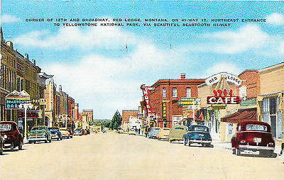 Hi-Way 12 Street Scene, Red Lodge, Montana, Vintage Postcard