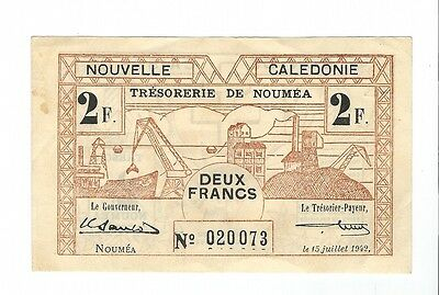 New Caledonia  - 2 Francs, 1942  !!WITH Watermark!!