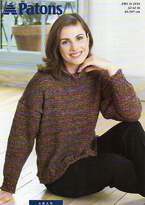 "Patons 2194 Aran 32-42"" Sweater Ladies Knitting Pattern"