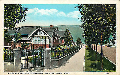 Residential Neighborhood, The Flat, Butte, Montana, Vintage Postcard