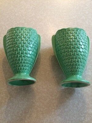 Pair Of SylvaC vintage green fish scale design vases 2712