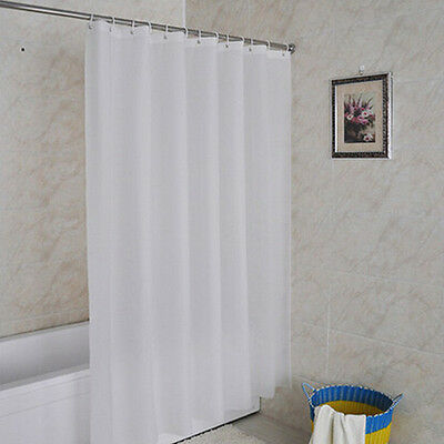 New 180cm White Shower Curtain Waterproof Fabric Bath Curtain With 12 Hooks