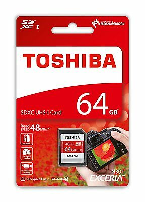 Genuine Toshiba Exceria 64GB SD SDXC Card 48MB/s, Class 10, UHS-I, Retail Pack