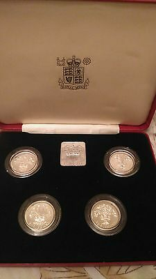 British 1984-1987 Royal Mint Silver proof £1 One Pound Coin Set  4 Coin Set
