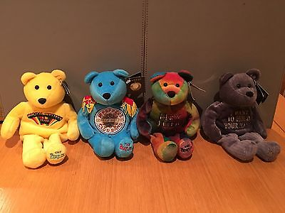 The Beatles Official Apple Beanie Bears Set Of Four - Mint With Tags - Rare.