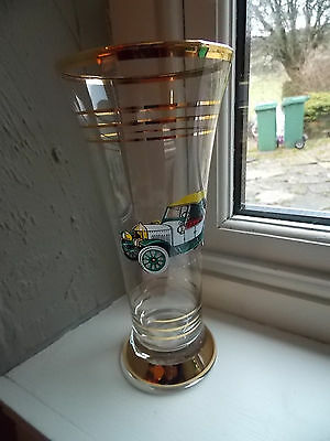 Vintage Tall Glass 1950's With Vintage Morris Car Motif, Gold Banding