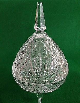 Lead Crystal Cut Glass Bowl With Lid/sweet Jar
